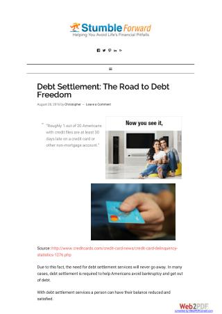 Debt Settlement: The Road to Debt Freedom