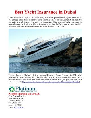 Best Yacht Insurance in Dubai