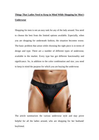 Things That Ladies Need to Keep in Mind While Shopping for Men's Underwear