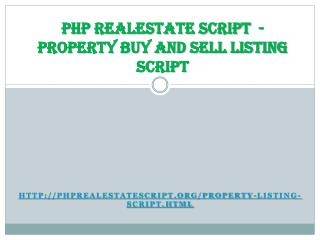 PHP Realestate - Property Buy Sell Listing Script
