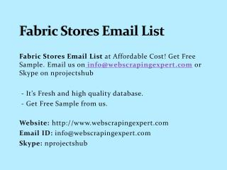 Fabric Stores Email List