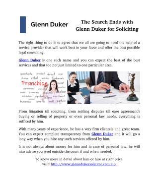 The Search Ends with Glenn Duker for Soliciting