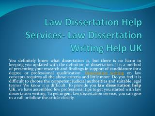 Get Law Dissertation Writing Help Services by UK Experts