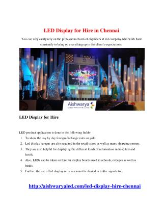 LED Display for Hire in Chennai