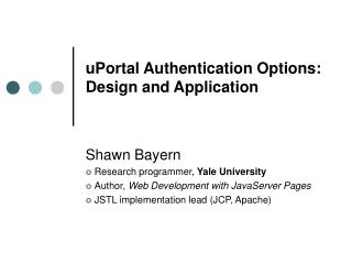 uPortal Authentication Options:  Design and Application