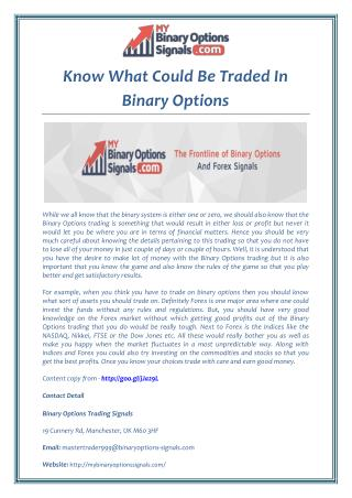Know What Could Be Traded In Binary Options