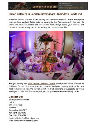 Indian Caterers in London Birmingham
