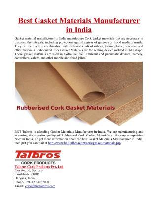 Best Gasket Materials Manufacturer in India