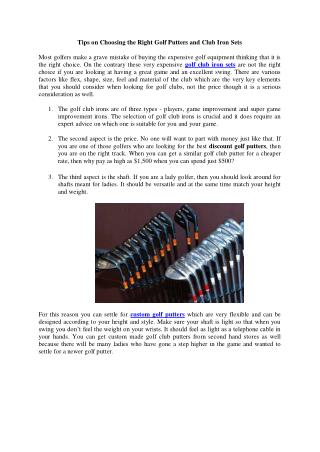 Golf Club Club Iron Sets and Custom Golf Putters
