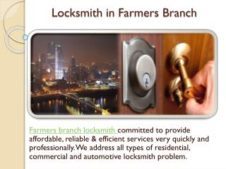 Locksmith in farmers branch