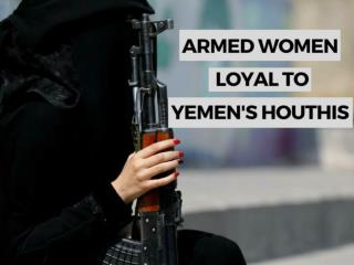 Armed women loyal to Yemen's Houthis