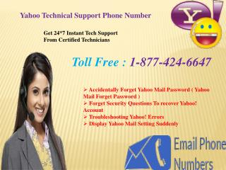 Yahoo Tech Support Number 1-877-424-6647