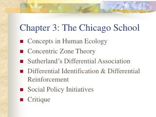 Chapter 3: The Chicago School