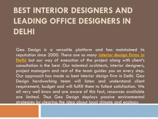 Best Interior Designers and Leading Office Designers in Delhi