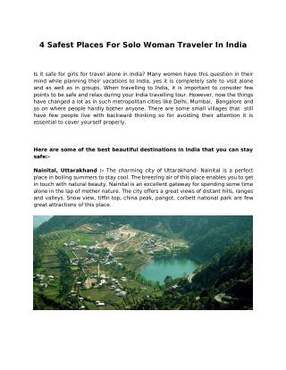 4 Safest Places For Solo Woman Traveler In India