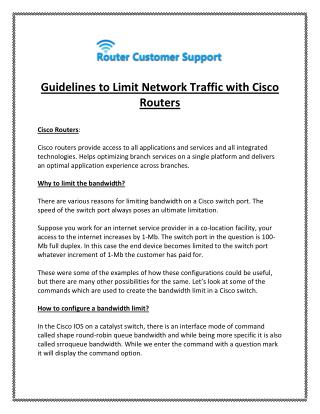 How to Limit Network Traffic with Cisco Routers