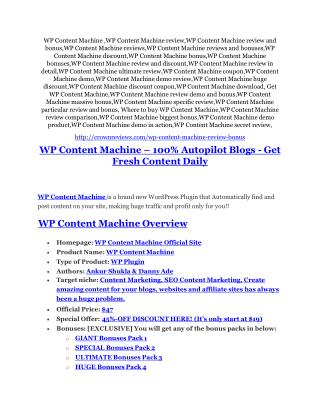 WP Content Machine review and (GET)  100 items bonus pack