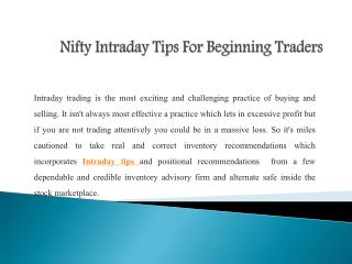 Nifty Intraday Tips For Beginning Traders