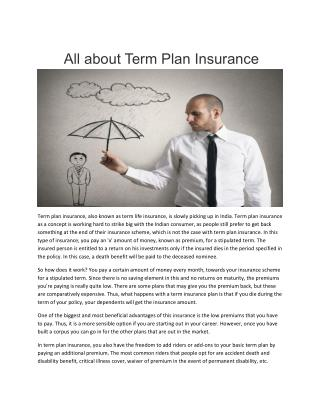 All about Term Plan Insurance
