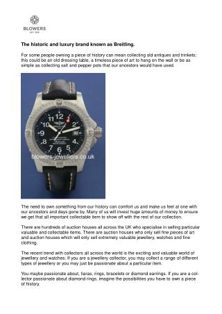 The historic and luxury brand known as Breitling.