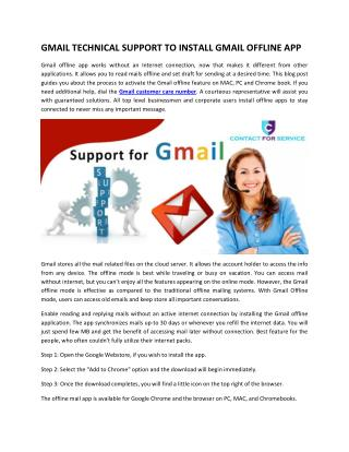 GMAIL TECHNICAL SUPPORT TO INSTALL GMAIL OFFLINE APP