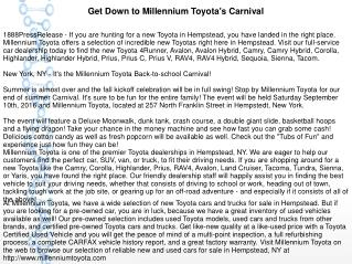 Get Down to Millennium Toyota's Carnival