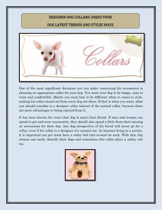 DESIGNER DOG COLLARS: DRESS YOUR  DOG LATEST TRENDS AND STYLES WAYS