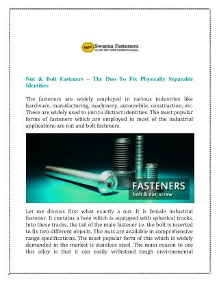 Nut Bolt Fasteners Manufacturers Delhi India