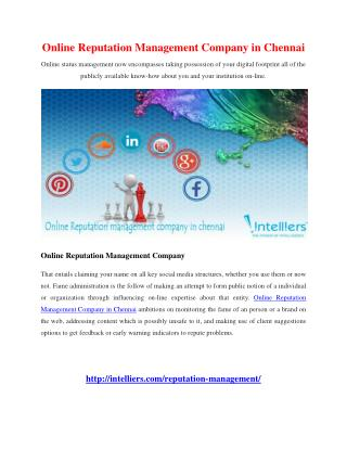 Online Reputation Management Company in Chennai