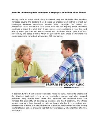How EAP Counseling Help Employees & Employers To Reduce Their Stress?
