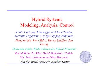 Hybrid Systems  Modeling, Analysis, Control