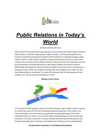 Public Relations in Today's World