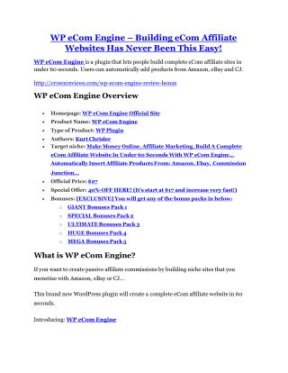 WP eCom Engine Review & (BIGGEST) jaw-drop bonuses