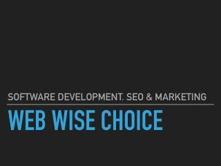 Website Design and create website. SEO to rank website on Google | WebWiseChoice