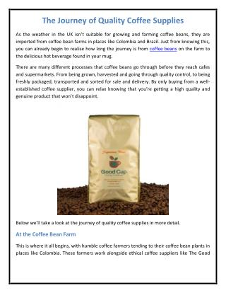 The Journey of Quality Coffee Supplies