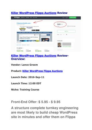 Killer WordPress Flippa Auctions Review
