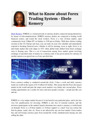 What to Know about Forex Trading System - Ebele Kemery