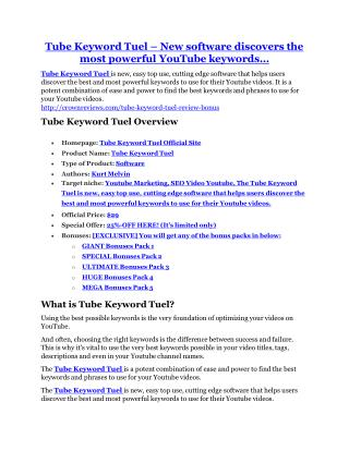 Tube Keyword Tuel review in particular - Tube Keyword Tuel bonus