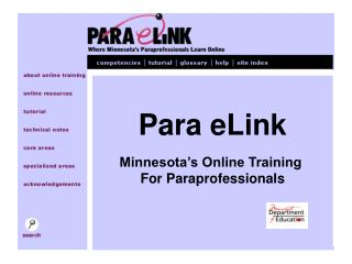 Para eLink Minnesota's Online Training  For Paraprofessionals