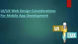 Consideration For App Design