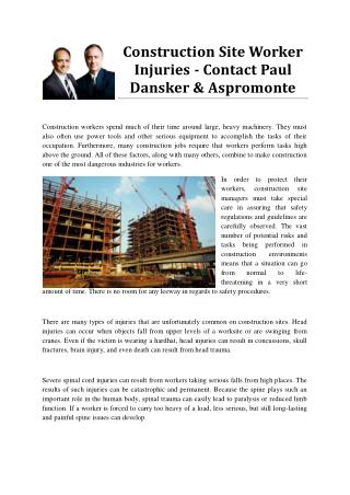 Construction Site Worker Injuries - Contact Paul Dansker & Aspromonte