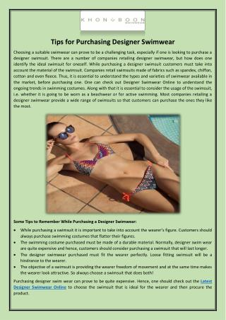 Tips for Purchasing Designer Swimwear