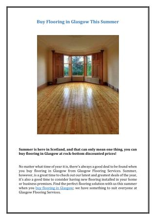 Buy Flooring in Glasgow This Summer