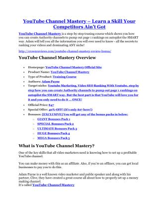 YouTube Channel Mastery REVIEW - DEMO of YouTube Channel Mastery