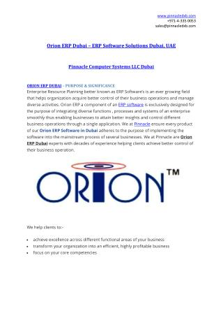 Orion ERP Dubai | ERP Software Dubai | Pinnacle Computer Systems