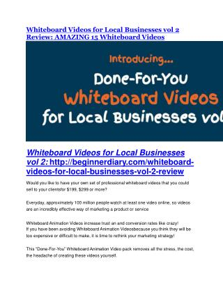 Whiteboard Videos for Local Businesses vol. 2 review and MEGA $38,000 Bonus - 80% Discount