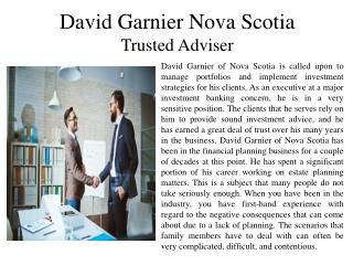 David Garnier Nova Scotia - Trusted Adviser