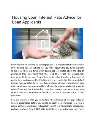 Housing Loan Interest Rate Advice for Loan Applicants