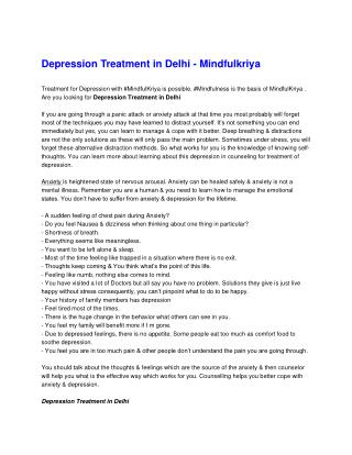 Depression Treatment in Delhi - Mindfulkriya