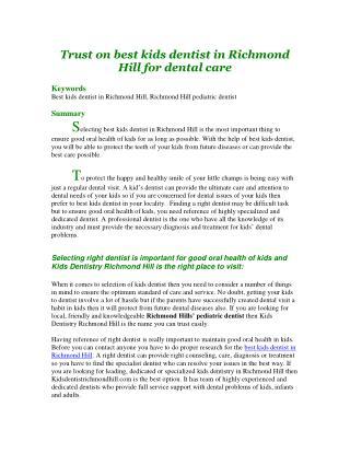 Trust on best kids dentist in Richmond Hill for dental care